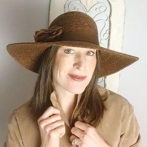Liz Claiborne | Brown Floppy Hat w/ Flower